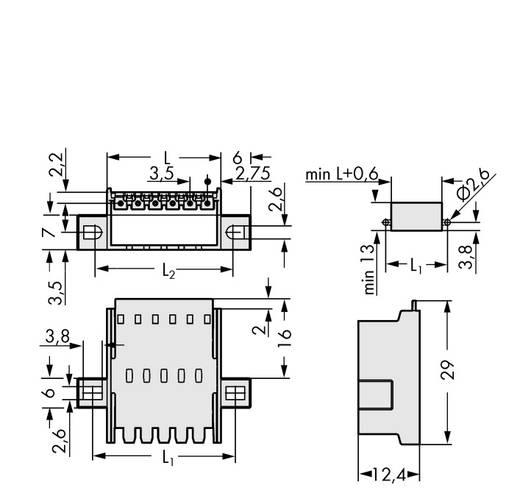 WAGO 2091-1636/024-000 Male header, inbouw (standaard) 2091 Totaal aantal polen 6 Rastermaat: 3.50 mm 50 stuks