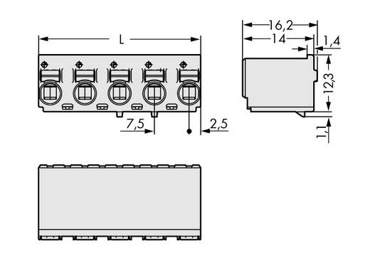 WAGO 2092-3125 Penbehuizing-board 2092 Totaal aantal polen 5 Rastermaat: 7.50 mm 100 stuks