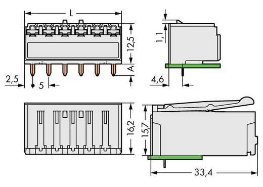 WAGO 2092-1323 Busbehuizing-board 2092 Totaal aantal polen 3 Rastermaat: 5 mm 200 stuks