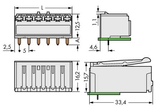 WAGO 2092-1326 Busbehuizing-board 2092 Totaal aantal polen 6 Rastermaat: 5 mm 100 stuks
