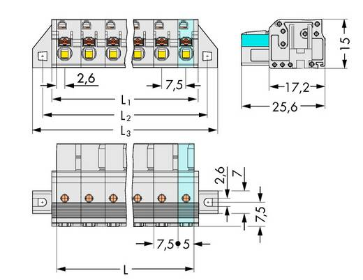 WAGO 2721-210/031-000 Busbehuizing-kabel 2721 Totaal aantal polen 10 Rastermaat: 7.50 mm 25 stuks