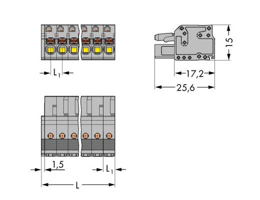 WAGO 2231-115/026-000 Busbehuizing-kabel 2231 Totaal aantal polen 15 Rastermaat: 5 mm 25 stuks