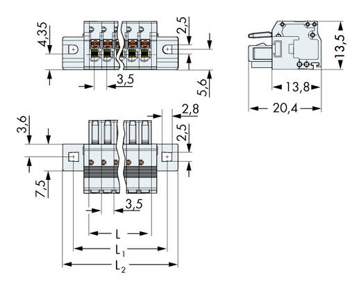 WAGO 2734-110/031-000 Busbehuizing-kabel 2734 Totaal aantal polen 10 Rastermaat: 3.50 mm 50 stuks
