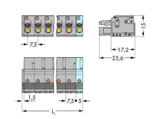 WAGO 2231-205/026-000 Busbehuizing-kabel 2231 Totaal aantal polen 5 Rastermaat: 7.50 mm 50 stuks