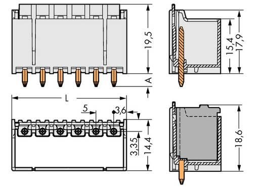 Penbehuizing-board 2092 Totaal aantal polen 5 WAGO 2092-1405 Rastermaat: 5 mm 100 stuks