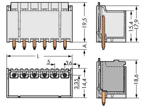 Penbehuizing-board 2092 Totaal aantal polen 8 WAGO 2092-1408 Rastermaat: 5 mm 100 stuks
