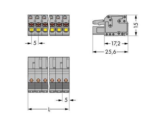 Busbehuizing-kabel Totaal aantal polen 2 WAGO 2231-102/102-