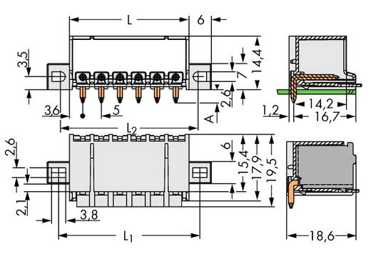 Penbehuizing-board 2092 Totaal aantal polen 5 WAGO 2092-1425/205-000 Rastermaat: 5 mm 100 stuks