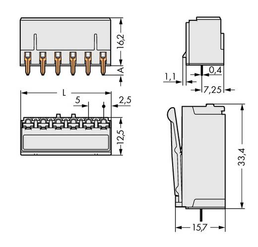 WAGO 2092-1305 Busbehuizing-board 2092 Totaal aantal polen 5 Rastermaat: 5 mm 100 stuks
