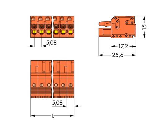 WAGO 2231-306/102-000 Busbehuizing-kabel 2231 Totaal aantal polen 6 Rastermaat: 5.08 mm 50 stuks