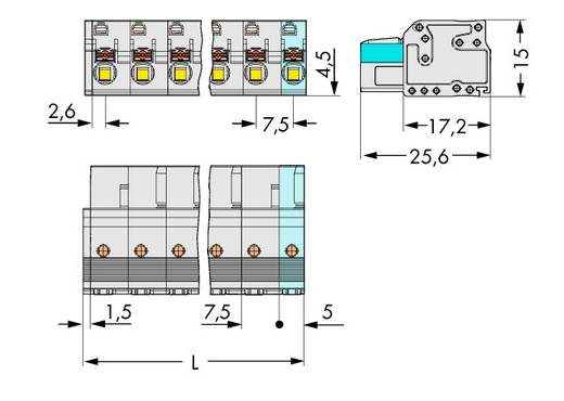 WAGO 2721-205/026-000 Busbehuizing-kabel 2721 Totaal aantal polen 5 Rastermaat: 7.50 mm 50 stuks