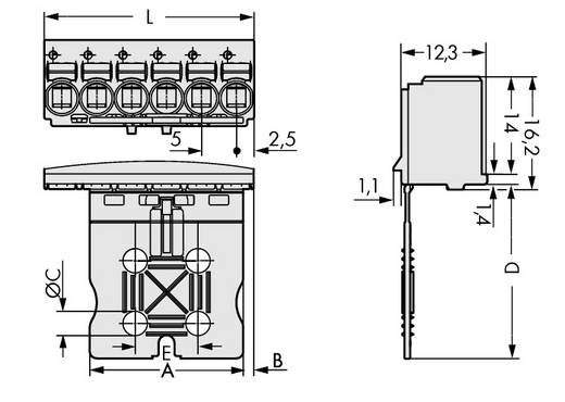 WAGO 2092-1105 Penbehuizing-board 2092 Totaal aantal polen 5 Rastermaat: 5 mm 100 stuks