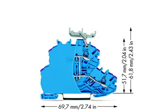 Doorgangsklem 2-etages 4.20 mm Veerklem Toewijzing: N Blauw WAGO 2000-2239/099-000 50 stuks