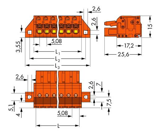 Busbehuizing-kabel 2231 Totaal aantal polen 6 WAGO 2231-306/031-000 Rastermaat: 5.08 mm 50 stuks