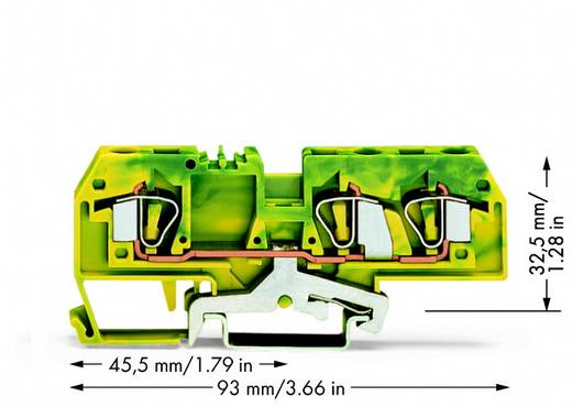 Aardingsklem 8 mm Veerklem Toewijzing: Terre Groen-geel WAGO 282-687/999-950 25 stuks