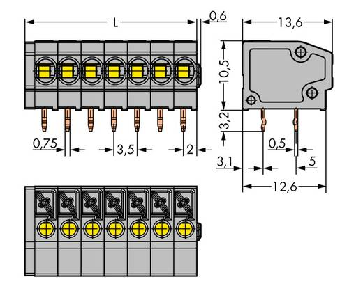 Veerkachtklemblok 1.50 mm² Aantal polen 20 WAGO Grijs 60 stuks