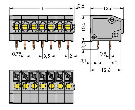 Veerkachtklemblok 1.50 mm² Aantal polen 7 805-107 WAGO Grijs 180 stuks