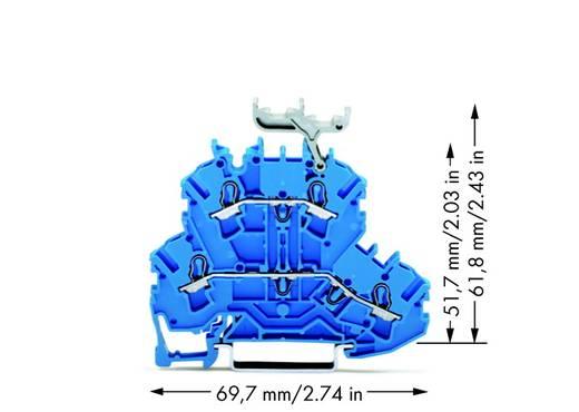 Doorgangsklem 2-etages 5.20 mm Veerklem Toewijzing: N, N Blauw WAGO 2002-2234 50 stuks