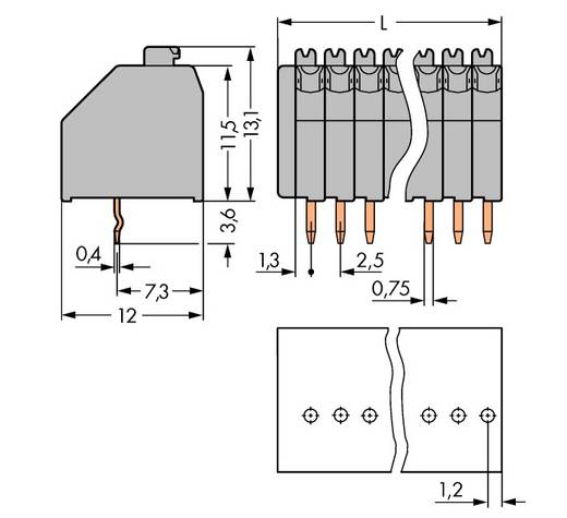 Veerkachtklemblok 0.50 mm² Aantal polen 10 WAGO Grijs 180 stuks