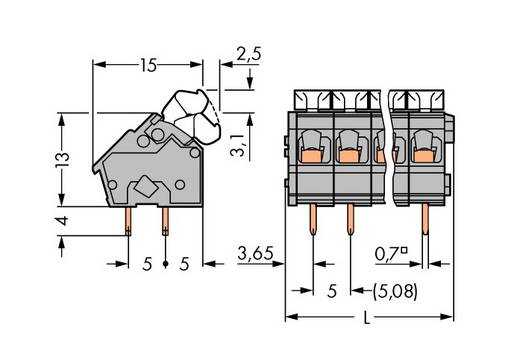Veerkachtklemblok 2.50 mm² Aantal polen 7 256-407/334-000 WAGO Grijs 120 stuks