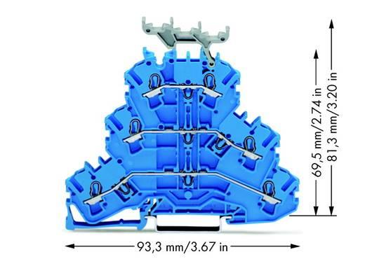 Doorgangsklem 3-etages 5.20 mm Veerklem Toewijzing: N, N, N Blauw WAGO 2002-3234 50 stuks