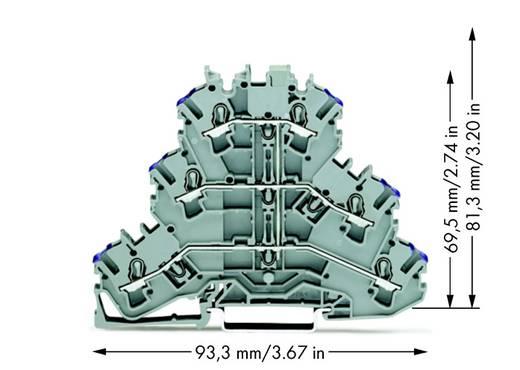 Doorgangsklem 3-etages 5.20 mm Veerklem Toewijzing: N Grijs WAGO 2002-3208 50 stuks