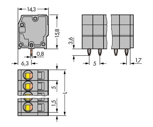 Veerkachtklemblok 2.50 mm² Aantal polen 7 739-107/100-000 WAGO Grijs 120 stuks