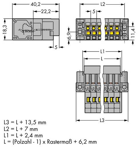WAGO 769-615/004-000 Busbehuizing-kabel 769 Totaal aantal polen 15 Rastermaat: 5 mm 10 stuks