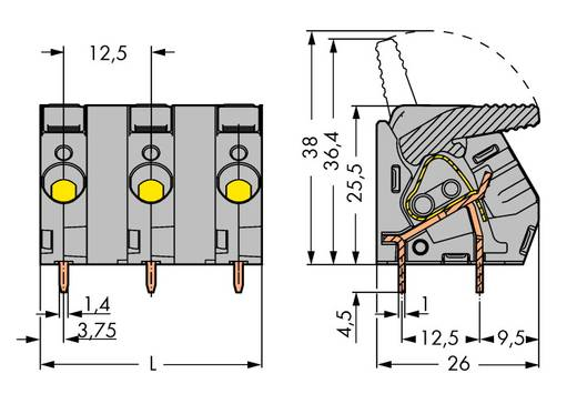 Veerkachtklemblok 6.00 mm² Aantal polen 6 2706-306 WAGO Grijs 15 stuks