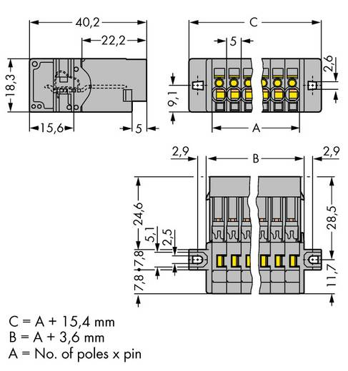 Busbehuizing-kabel 769 Totaal aantal polen 6 WAGO 769-606/002-000 Rastermaat: 5 mm 50 stuks