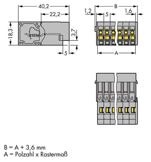 WAGO 769-606 Busbehuizing-kabel 769 Totaal aantal polen 6 Rastermaat: 5 mm 50 stuks