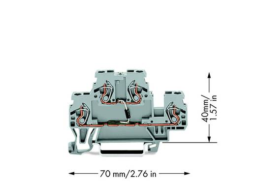 Diodeklem 2-etages 5 mm Veerklem Toewijzing: L Grijs WAGO 870-540/281-410 50 stuks
