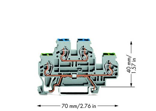 Aardklem 2-etages 5 mm Veerklem Toewijzing: Terre, N Grijs WAGO 870-517 50 stuks
