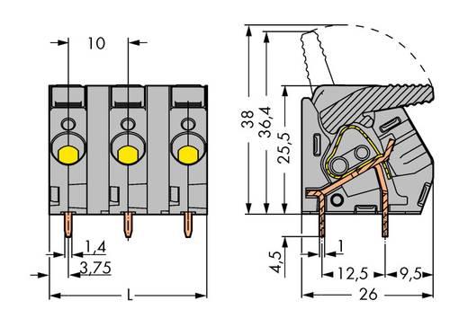 Veerkachtklemblok 6.00 mm² Aantal polen 3 WAGO Grijs 45 stuks
