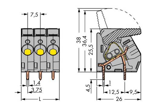 Veerkachtklemblok 6.00 mm² Aantal polen 12 WAGO Grijs 10 stuks