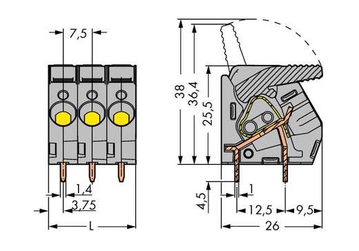 Veerkachtklemblok 6.00 mm² Aantal polen 9 WAGO Grijs 15 stuks