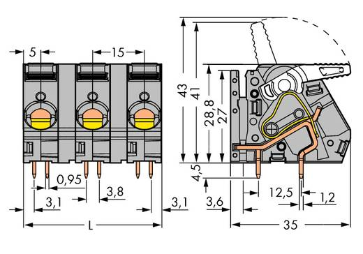 Veerkachtklemblok 6.00 mm² Aantal polen 6 2716-256 WAGO Grijs 12 stuks