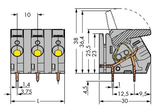 Veerkachtklemblok 6.00 mm² Aantal polen 4 2706-254 WAGO Grijs 30 stuks