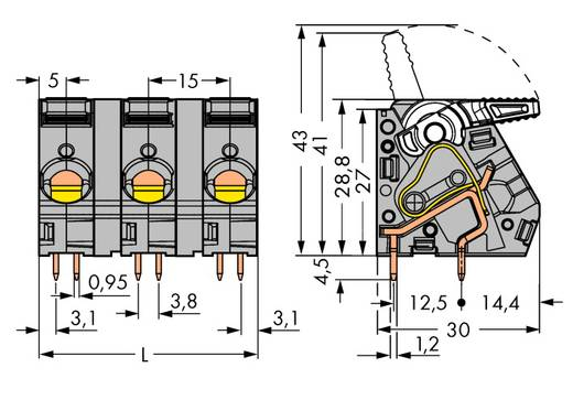 Veerkachtklemblok 6.00 mm² Aantal polen 5 WAGO Grijs 15 stuks
