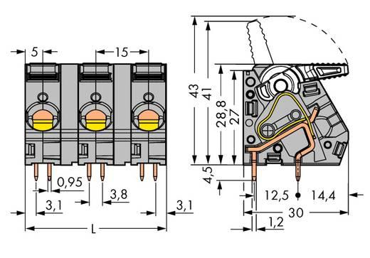 Veerkachtklemblok 6.00 mm² Aantal polen 6 WAGO Grijs 15 stuks