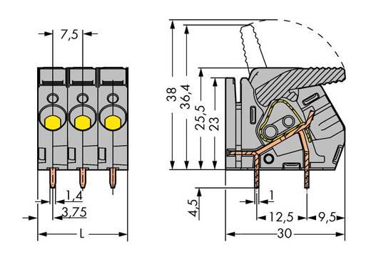 Veerkachtklemblok 6.00 mm² Aantal polen 10 WAGO Grijs 15 stuks