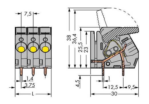 Veerkachtklemblok 6.00 mm² Aantal polen 7 WAGO Grijs 20 stuks