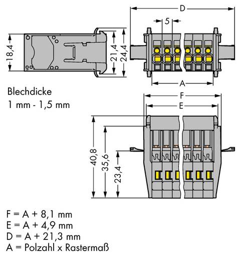 Busbehuizing-kabel 769 Totaal aantal polen 5 WAGO 769-605/005-000 Rastermaat: 5 mm 25 stuks