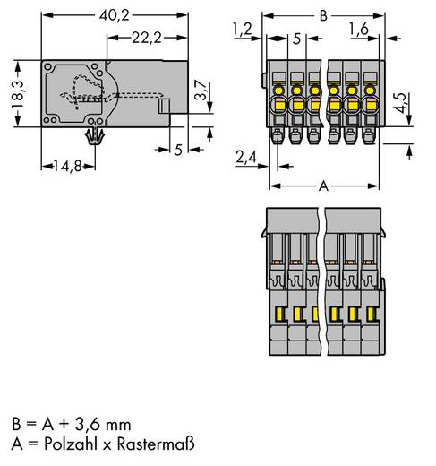Busbehuizing-kabel 769 Totaal aantal polen 6 WAGO 769-606/001-000 Rastermaat: 5 mm 50 stuks