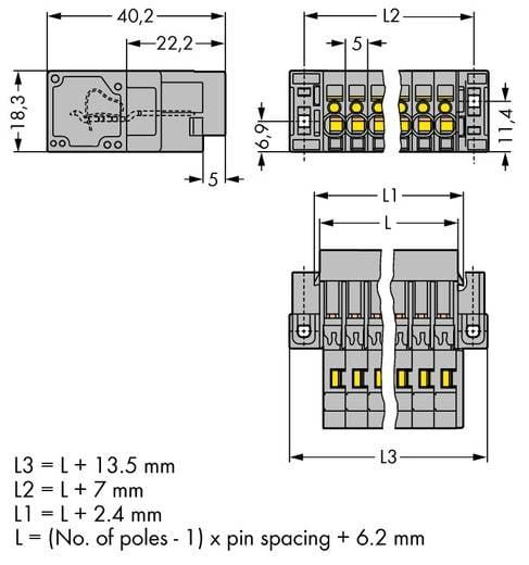 Busbehuizing-kabel 769 Totaal aantal polen 9 WAGO 769-609/004-000 Rastermaat: 5 mm 25 stuks