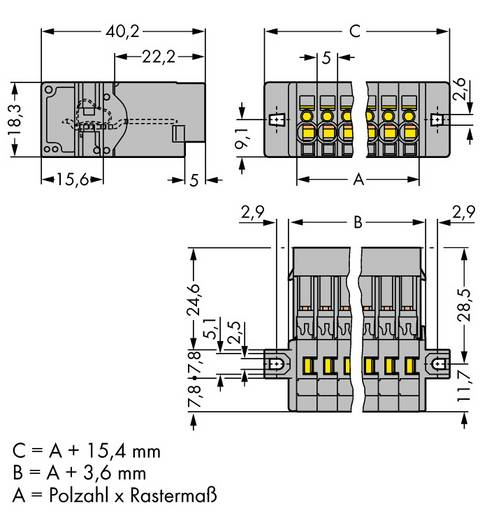 Busbehuizing-kabel 769 Totaal aantal polen 9 WAGO 769-609/002-000 Rastermaat: 5 mm 25 stuks