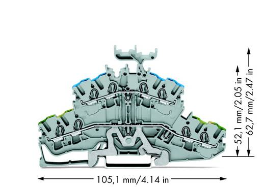 Aardklem 2-etages 5.20 mm Veerklem Toewijzing: Terre, N Grijs WAGO 2002-2447 50 stuks