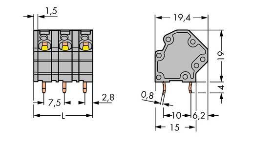 Veerkachtklemblok 4.00 mm² Aantal polen 9 WAGO Grijs 48 stuks