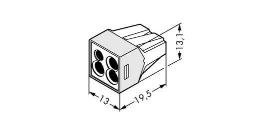 WAGO Lasklem Flexibel: - Massief: 0.75-2.5 mm² Aantal polen: 4 1000 stuks Transparant
