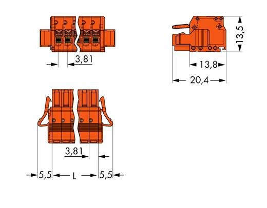 Busbehuizing-kabel 2734 Totaal aantal polen 2 WAGO 2734-202/037-000 Rastermaat: 3.81 mm 100 stuks